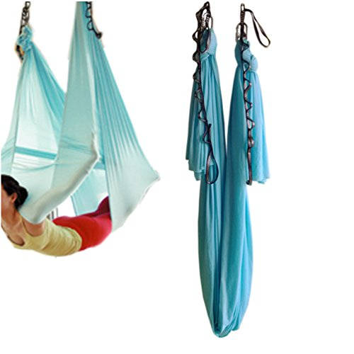Bolster Hammock (wellsem Aerial Yoga Hammock 5.5 Yards Aerial Pilates Silk Yoga Swing Set Include Carabiner,Daisy Chain, Pose Guide (Sky Bule, 5meter))