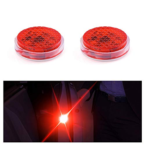 2pcs Universal General Car Door Led Opening Warning Lamp Safely Flash Light Red Kit Wireless Anti-collid Signal Light