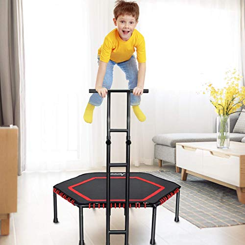 MOVTOTOP 48 Inch Fitness Trampoline, Folding Indoor Trampoline Rebounder with Adjustable Handrail and Safety Pad, Exercise Trampoline for Kids Adults (48 Inch-Unfoldable-Red)