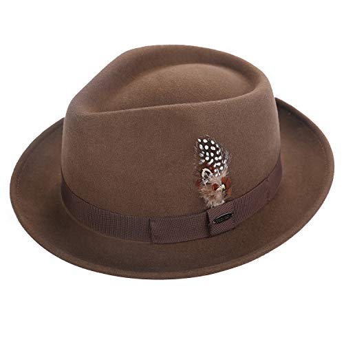 Deevoov 100% Wool Felt Men's Fedora Outback Trilby Hat Short Brim Cap with Hat Band Feather, Dark Camel