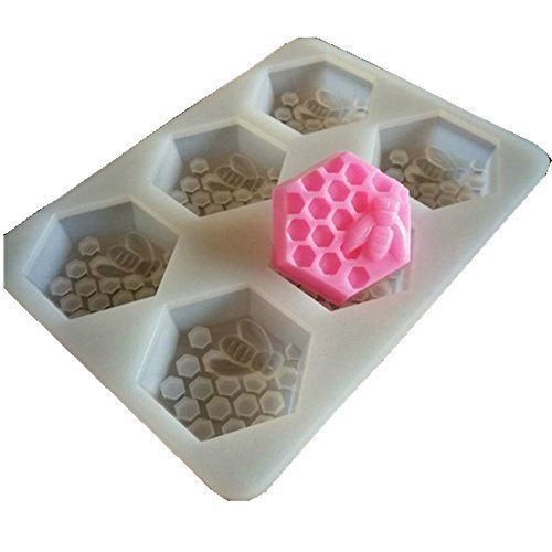 Baifeng 6 Holes Bee Honeycomb Pattern Silicone Fondant Soap Molds, DIY Bakeware Pan Cake Moulds Sweet Cuocake Chocolate Making Mold Handmade Craft Art Clay Mold Fondant Cake Decorating Tool by Baifeng
