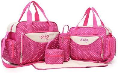 5-teiliges Set Wickeltaschen Wickeltasche Krankenhaustasche Multifunktions-Mumien-Tasche Tuniya Baby Wickeltaschen mit Punkten