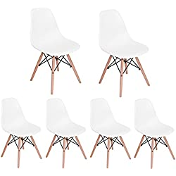 HOMY CASA Homycasa Eiffel DSW Style Mid Century Side Dining Chairs Molded Plastic Cover Natural Wood Legs(Set of 6, White)