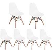 Homycasa Eiffel DSW Style Mid Century Side Dining Chairs Molded Plastic Cover Natural Wood Legs(Set of 6, White)