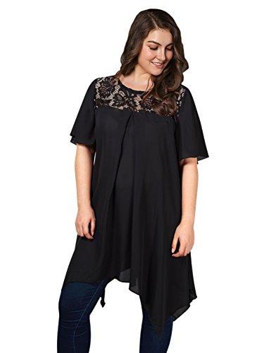 AMZ PLUS Plus Size Womens Lace Splicing Irregular Hem Short Sleeve Chiffon Blouses