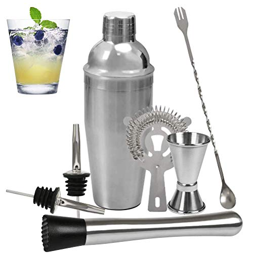 BUYGOO Cocktail Shaker Set Bartender Kit, 25oz Stainless Steel Martini Mixer, Muddler, Mixing Spoon, jigger, Cocktail Strainer, 2 liquor pourers - Best Bartender Kit for Beginners