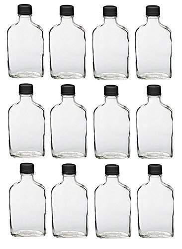 (Nakpunar 12 pcs Glass Flask Bottles with Black Tamper Evident Cap - 200 ml)