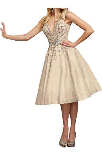Linie Damen A V Champagner Festkleid Ausschnitt Promkleid Rueckenfrei Ivydressing Abendkleid Steine Partykleid Zaertlich 0gqwdFd