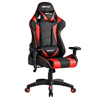 "Merax PP033082JAA Gaming High Back Computer Ergonomic Design Racing Chair, 27.6"" L X 27.6"" D X 52.4"" H, Red"