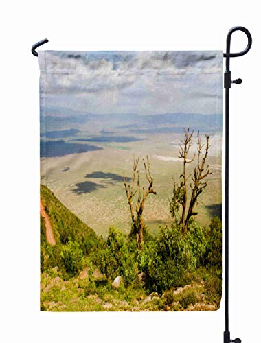 Shorping Welcome Garden Flag, 12x18Inch Area World Heritage site in The Crater Wild Animals Birds Conservation NCA Highlands Tanzania Plains for Holiday and Seasonal Double-Sided Printing Yards Flags]()