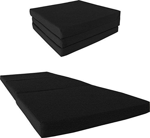 Tri-Fold Foam Bed, Trifold beds, Floor Folding Foam Mattresses, Tri Fold Mats (Single 4 x 27 x 75, Black) (Folding Rv Mattress compare prices)