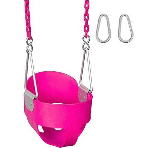 Swing Set Stuff Highback Full Bucket with 5.5' Coated Chain & SSS Logo Sticker, Pink