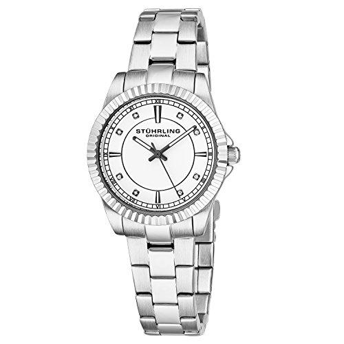 Stuhrling Original Women's 408LL.01 Symphony Swiss Quartz Swarovski Crystal-Accented Silver Dial Watch