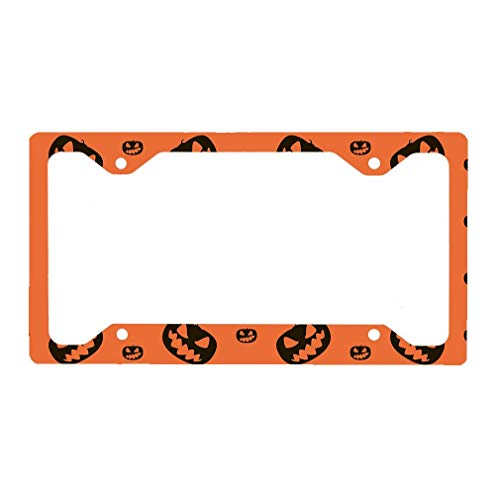 (Fshionlicendseplate Halloween Background Pumpkins Auto Car License Plate Frame Tag)
