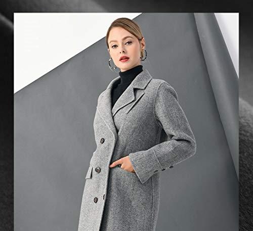 A Boucle Da Inverno Autunno Lunghe Vintage Donna Vento Maniche Vioy grigio E Ricamo Lana Coat In Caldo Giacca XzwqwC