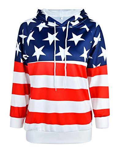 (ABD Unisex Fashion USA American Flag Print Slim Pullover Hoodie Sweatshirt, American Flag B, XX-Large)