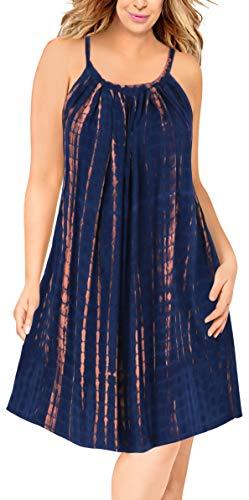 LA LEELA Women's Beach Dress Tunic Top T-Shirt Dress Caftan US 14-16W ()