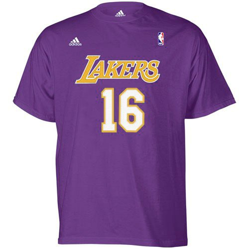 a0a88c93e419 Amazon.com   adidas NBA Los Angeles Lakers  16 Pau Gasol Purple Net Player  T-Shirt   Sports   Outdoors