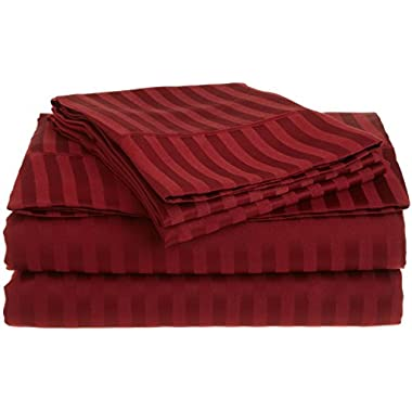 Stripes Burgundy 300 Thread Count Queen size Sheet Set 100 % Egyptian Cotton 4pc Bed Sheet set (Deep Pocket) By wholesalebeddings