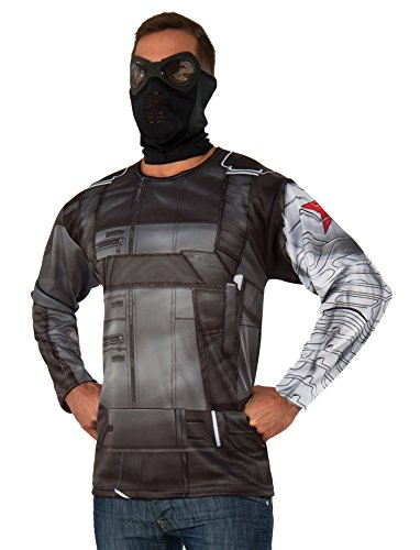 Marvel Men's Captain America: Civil War Winter Soldier Long Sleeve Costume Top, Multi, One Size