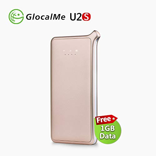 GlocalMe U2S Lite Mobile Hotspot, Worldwide High Speed WiFi Hotspot with 1GB Global Initial Data (Gold)