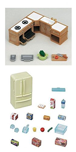 2 Kitchen Sets with Accessories - Kitchen Cabinets & Refrigerator Sets (Japan (Calico Critters Kitchen Furniture)