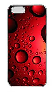 Personalized Transparent Hard Plastic Case for iPhone 5C Photograph with Water pearls on red iPhone 5C PC Back Cover