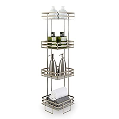 "BINO 'Lafayette' 4-Tier Square Spa Tower, Nickel - Free standing 4-tier spa tower, great for storing bathroom essentials Made out of durable steel, powder coated in nickel Measures 8.5"" x 8.5"" x 35.75"" - shelves-cabinets, bathroom-fixtures-hardware, bathroom - 41UEdMvGCxL. SS400  -"