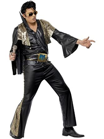 60s -70s  Men's Costumes : Hippie, Disco, Beatles Elvis Black And Gold Fancy Dress Costume Mens (Music) $57.51 AT vintagedancer.com