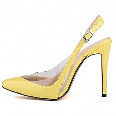 HooH Women's Transparent Buckle Pointed Stiletto Sandals Dress Pump