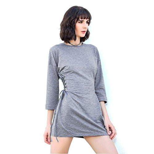 Women's Neck Grey 4 Sweatshirt Cross 3 Crew Solid Sleeve Dress Drawstring Mini Grey Dress Celmia w4dTHqxw