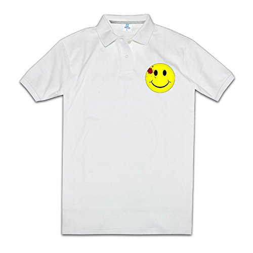 [MZONE Men's Watchmen Bloody Smiley Face Particular Polo Tshirt] (Smiley Movie Mask)