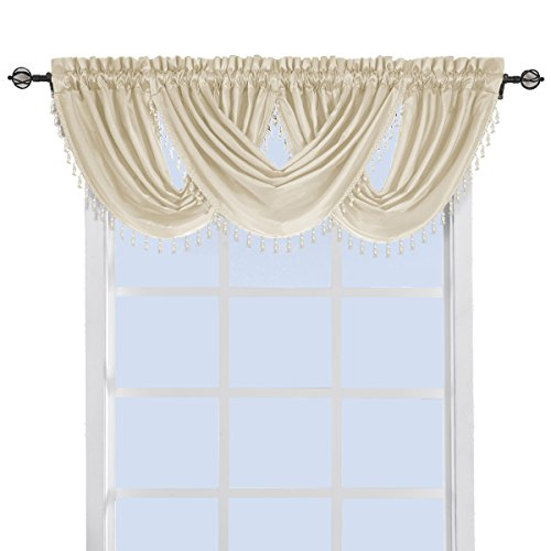 (sheetsnthings 100% Polyester Ivory Soho Waterfall Decorative Trim Window Valance 57