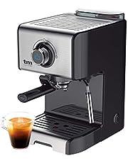 TM Electron TMPCF101 Handmatige espressomachine met 15 bar druk, 1200 W, tank 1,2 l, melkopschuimer, 3 functies, gemaakt van roestvrij staal, 1 cup