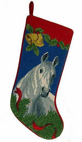 Gray Horse Christmas Stocking 100% Wool Hand-Stiched Needlpoint: Precious