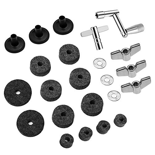 23 Pieces Cymbal Replacement Accessories Cymbal Felts Hi-Hat Clutch Felt Hi Hat Cup Felt Cymbal Sleeves with Base Wing Nuts Cymbal Washer and Drum Keys for Drum Set (Gray)