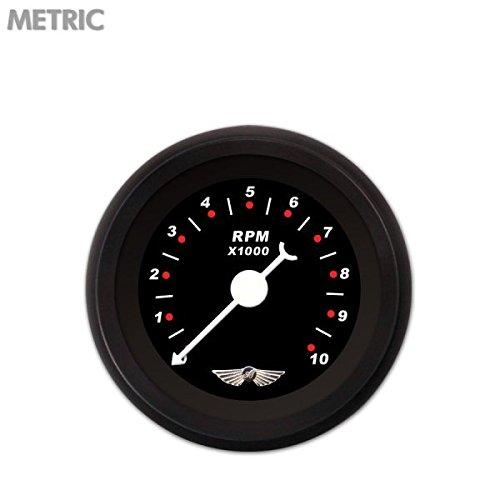 White Classic Needles, Black Trim Rings, Style Kit Installed Aurora Instruments 6219 Modern Rodder Black Tachometer Gauge with Emblem