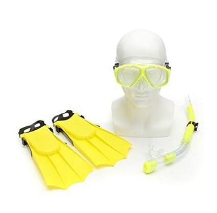 TENGGO Gafas De Buceo Niños Snorkel Máscara + Tubo De Respiración + Palmeados Pies Natación Buceo