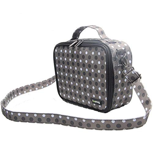 Teamoy Colored Pencils Case, Travel Gadget Bag with Handle and Shoulder Strap, Stylish and Multi-Purpose, Perfect Size for Travel or Daily Use-NO Pencils Included, Gray Dots
