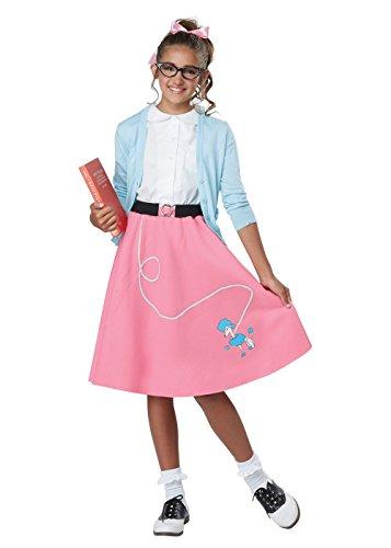 Girls 50's Pink Poodle Skirt Costume size Large/XL (Kids Pink Poodle Skirt)