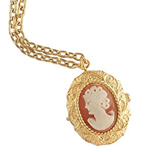 14K Gold Plated Pendant Pocket Locket Watch Cameo Necklace Jewelry Fleur de Lis Roman Numeral Dial