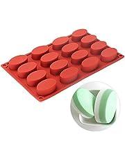 Oval Silicone Baking Mold Non Stick Reusable Heat Resistant Elliptical DIY Cake Pan,16-Cavity