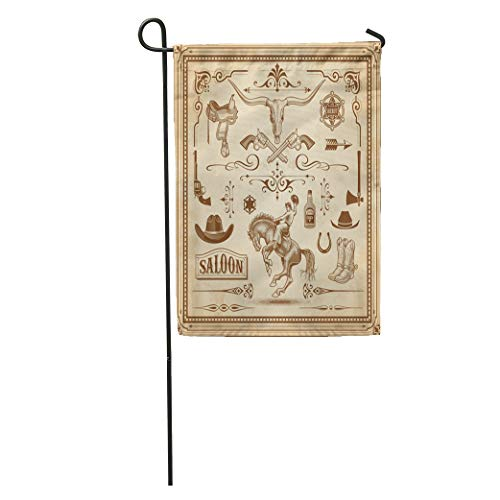 (Semtomn Garden Flag Collection of Wild West Frames Rulers Corner Ornaments and Clip Home Yard House Decor Barnner Outdoor Stand 28x40 Inches Flag)