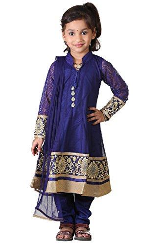 (Ashwini Girls Netted Embroidery Blue Salwar,Blue,2-3 Years)