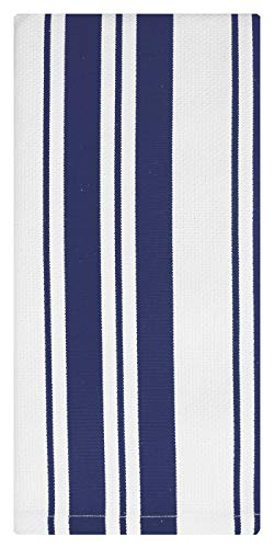 MU Kitchen Cotton Stripe Dishcloth, 13 by 13-Inches, Set of 2, Ink Blue - Mu Kitchen Cotton