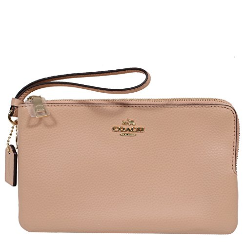 Coach Pebble Leather Double Zip Wristlet Wallet (NUDE PINK) by Coach