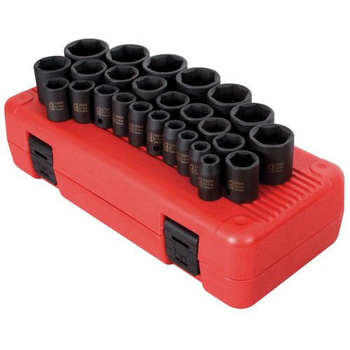 Sunex 2645 1/2-Inch Drive Impact Socket Set, Metric, Standard, 6-Point, Cr-Mo, 10mm - 36mm, 26-Piece
