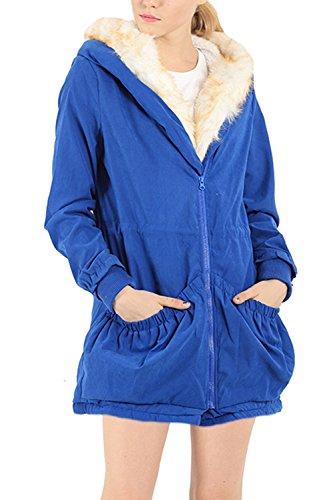 Casual con capucha lana abrigo mujeres de Blue