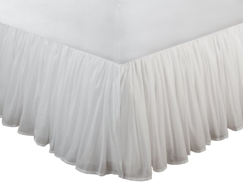 Greenland Home Cotton Voile Bedskirt, Twin, White (Voile Ruffled)