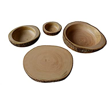 RoRo hand-crafted 4-piece party-in-a-box made from sustainable wood: 12 in serving tray, 12 in chip bowl, 8 in guacamole bowl, 5  dip bowl